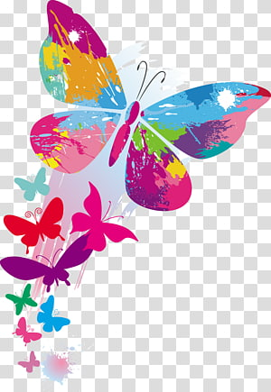 art graphique papillon bleu, vert et violet, illustration papillon couleur, motifs de papillons colorés png