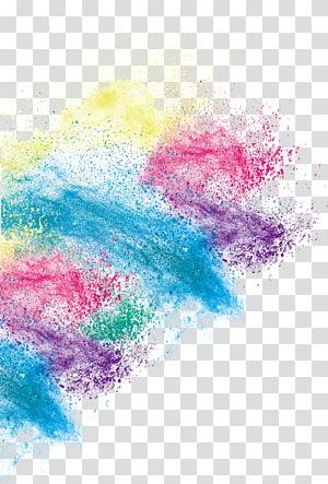 Impression jet d'encre, effet de poussière couleur créative, peinture abstraite bleue, rouge et jaune png