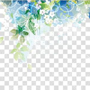 illustration florale verte, blanche et bleue, Matériel de décoration pour motif de fleurs colorées png