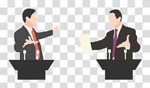 deux hommes en conversation à côté de l'illustration des bureaux, discours du débat, politique png