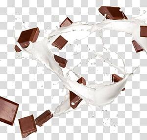 tablettes de chocolat et liquide blanc, lait au chocolat café au lait, chocolat au lait png