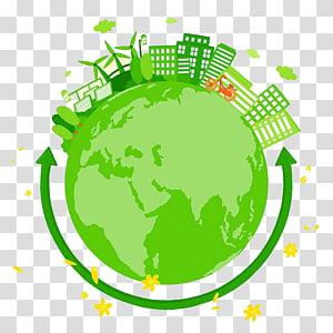 illustration de globe vert, écologie de la terre environnement, terre de l'environnement png