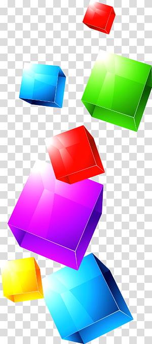 oeuvre de cube multicolore, cube coloré png