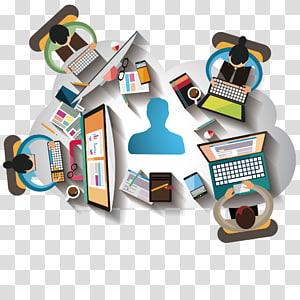 Quatre personnes utilisant un ordinateur portable, Teamwork Meeting Software Project Euclidean, bureau, gens d'affaires png