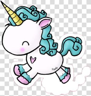 licorne blanche et turquoise, dessin licorne autocollant, licorne png