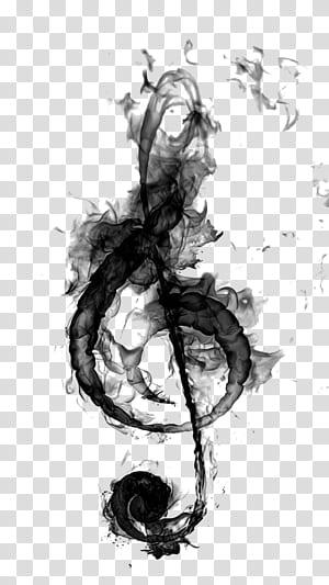 Note de musique de microphone Clef Drawing, Black smoke music, oeuvre de g-clef noire et grise png
