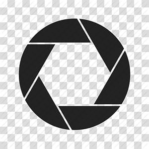 logo de navigateur noir Google Chrome, objectif de l'appareil photo Ouverture d'obtur png
