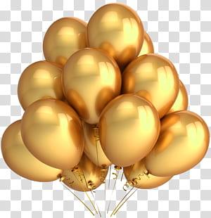 Balloon Party Gold couleur métallisée, ballons dorés, ballons en plastique jaunes png