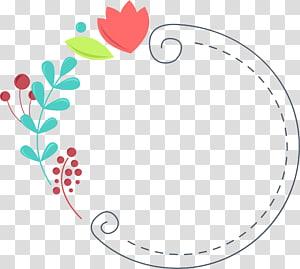 , Fleurs vertes frontières mignonnes, illustration de fleur rouge png