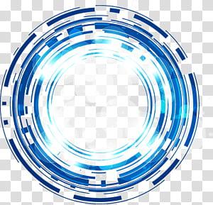 Science et technologie cercle abstrait bleu lueur fantaisie, illustration bleue et blanche ronde png