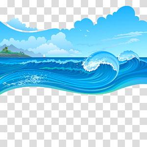 art graphique de vagues de la mer, Cartoon Wave, tempêtes de mer png