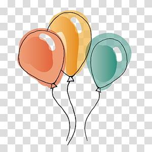 Balloon Aquarelle, Aquarelle Balloon, trois ballons animés png
