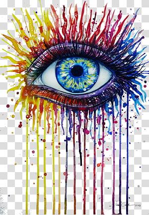 illustration oeil éclaboussures rouge, jaune et bleu, aquarelle oeil dessin Art, arc en ciel de feu png