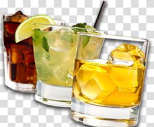 Trois boissons assorties sur des verres en pierre, Cocktail Boisson distillée Boissons pétillantes Bière Jus de bière, alcool png