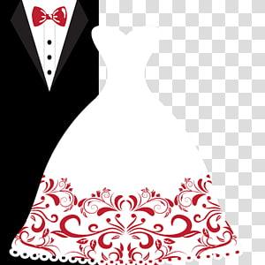 Invitation de mariage marié robe de mariée, costumes de robe de mariée mariage, robe à côté de l'illustration smoking png