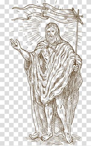 Illustration de Saint Jean le Baptiste, illustration de la résurrection de Jésus, Jésus, chrétien png