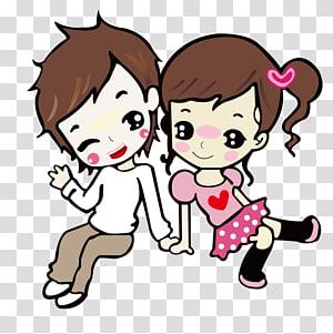 illustration de dessin animé garçon et fille, dessin de dessin animé, couple de dessin animé png