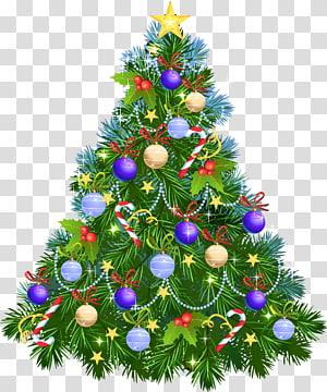 Arbre de Noël ornement de Noël, arbre de Noël avec des ornements violets, illustration verte arbre de Noël png