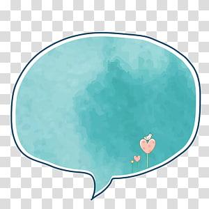 illustration de bulle de message bleu, boîte de dialogue Aquarelle frontière peinte à la main png
