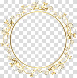 cadre, bordure florale ronde or, illustration du cadre floral beige rond png