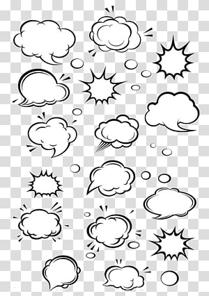 Dessin animé discours ballon Cloud Comics, boîte de dialogue, illustration de fumée assorties blanc png