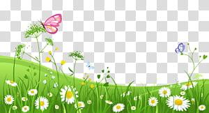 , Herbe avec des papillons, papillon rose sur illustration d'herbe verte png