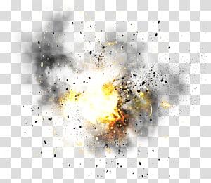 illustration jaune de lumière et de fumée, Explosion, Explosion png