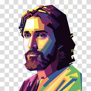 homme polygone art polygone, Sainte Face de Jésus, Jésus Christ png