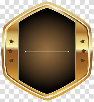 illustration étoile en or, motif d'angle marron, étiquette blanche et dorée png