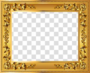 cadre doré, cadre déco doré, cadre floral doré rectangulaire png