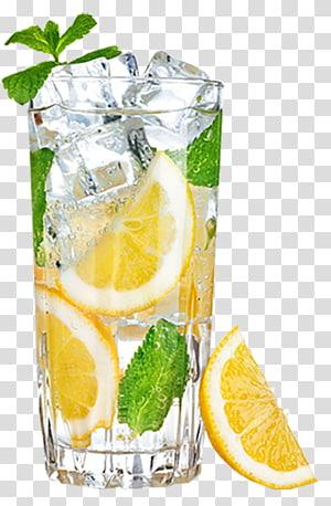 Lemonade Lemon-lime drink Eau, glace au citron, couper les citrons en tranches dans un verre clair png