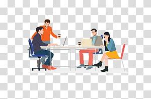 gens, devant, table, illustration, réunion, coworking, infographique, homme affaires, réunion affaires png