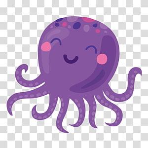 illustration de pieuvre pourpre et rose, icône de dessin animé de pieuvre, pieuvre pourpre png