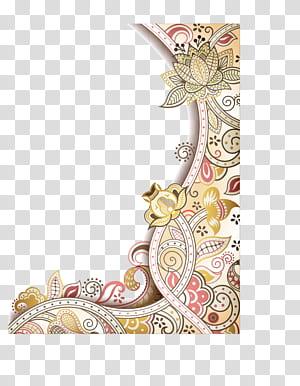 Fleur Art abstrait Design floral, bordure de fleurs exquises peintes à la main, illustration du cadre de fleurs png