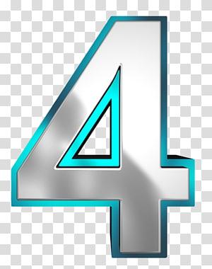 4 illustration, Nombre, Métallique et Bleu Nombre Quatre png