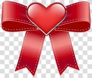 ruban rouge et illustration de coeur, Saint Valentin, arc rouge avec coeur png