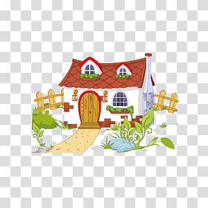 illustration de maison blanche et brune, contenu gratuit de maison, maison et clôture png