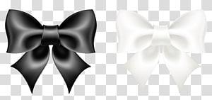illustration de rubans noir et blanc, noeud papillon noir et blanc, noeud noir et blanc png