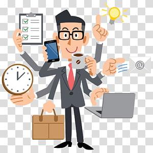 homme, veste, tenue, tasse, smartphone, illustration, multitâche humain, gestion, chef projet, homme affaires png