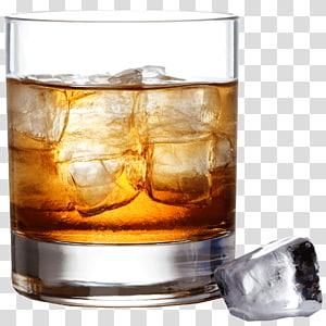 Bourbon whiskey Boisson distillée Cocktail Scotch whisky, éclaboussure de bière, verre à pied rempli de liquide et de glace png