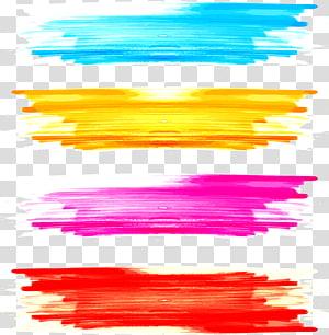Peinture aquarelle Paintbrush, pinceau aquarelle Graffiti, quatre illustrations de couleurs assorties png