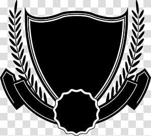 logo noir et blanc, ruban, ruban de bouclier noir png