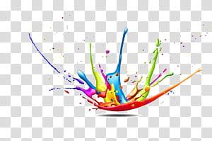 Modèle de couleur CMJN Peinture Splash, fond de couleur Splash Figure décorative, illustration de peinture splash png