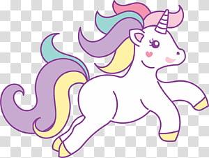 illustration de la licorne multicolore, Running Unicorn, topo png
