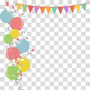 Illustration de ballon fête, drapeaux de frontière de ballons colorés, illustration de ballons multicolores png