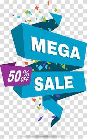 illustration de vente méga, promotion des ventes d'étiquettes en papier, demi-étiquette bleue png