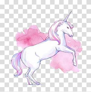 illustration de licorne blanche et rose, cheval de licorne rose invisible, licorne rose png