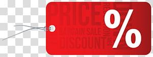 illustration de dessin animé de carte-cadeau rouge, logo de la marque rouge, étiquette de réduction de prix png
