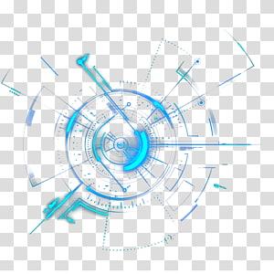 Géométrie du cercle de lumière, sciences et technologies, bleu mécanique png