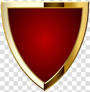 Logo de l'étiquette, badge rouge, illustration du bouclier rouge et or png